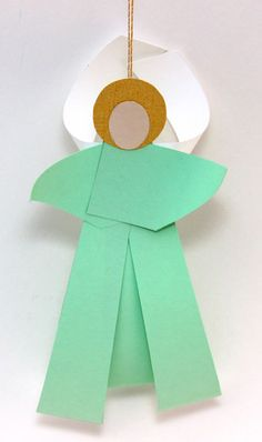 Curled Paper Angel pastel green on display