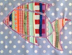 Reverse applique spangly fish