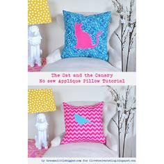The Cat and the Canary No Sew Applique Pillow