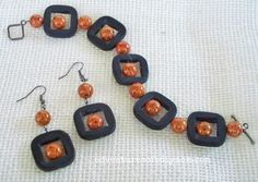 Grey and Orange Bracelet and Earring