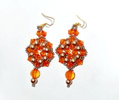 Beaded Earrings Orange Crystals