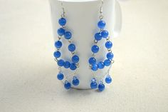 Blue Dangling Earrings DIY