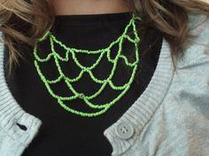 Green Beaded Tier Necklace