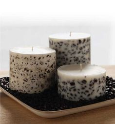 Embedded Soy Pillar Candle