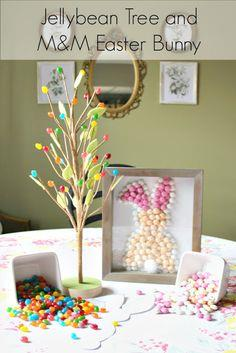 Jellybean tree and M&M Easter bunny