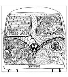 free printable coloring pages hippie camper