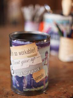 Decoupage Photo and Quote Cans