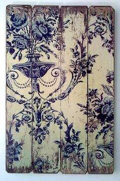 Vintage Wallpaper on Wood