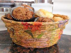 Decoupaged Bread Basket