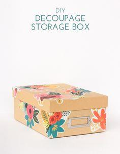 Floral Decoupage Storage Box