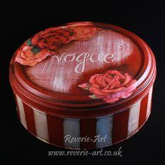 Decoupage on metal tin
