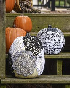 Decoupage doily pumpkin craft
