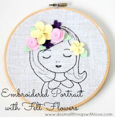 Embroidered Portrait with Flowers