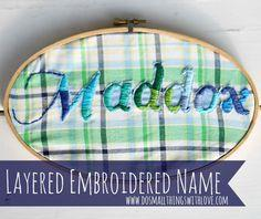 Layered Embroidered Name