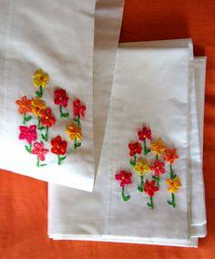 Ribbon Embroidery Pillow Cases