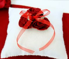 Felt Rose Ring Bearer Pillow