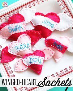 Hand-Embroidered Felt Heart Sachets