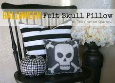 Felt Skull Halloween Pillow