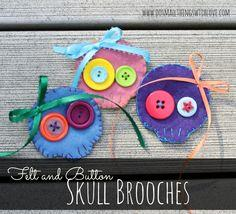 Felt and Button Skull Brooch
