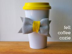 Felt Bow Coffee Cozie