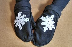 Mittens With Felt Snowflakes
