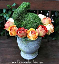 Moss Bunny and Roses in Urn