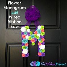 Flower Monogram with Ribbon Bow