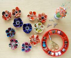 Kanzashi Style Flower Brooches