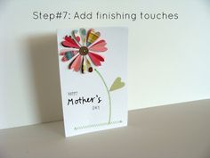 Sewn On Paper Flower card