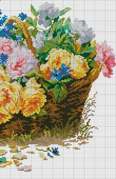 Cross stitch Roses and Cornflowers