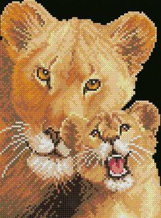 cross stitch lioness and cub