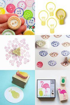 fabric with rubber stamps