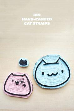 DIY Hand Carved Cat Stamps