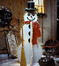 Happy Lighted Snowman