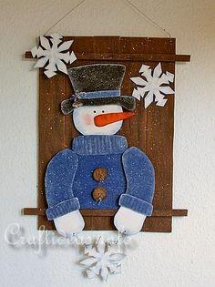 Wooden Snowman Wall Picture