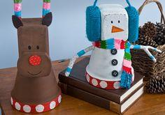 Whimsy Clay Pot Snowman