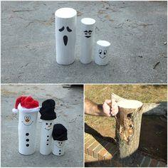 Ghost/Snowman out of logs