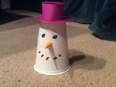 Snowman Head Container Out Of A Cup