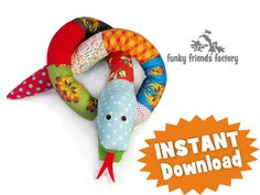 SNAKE soft toy sewing pattern