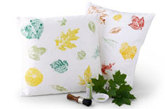 Leaf Patterned Painted Pillow