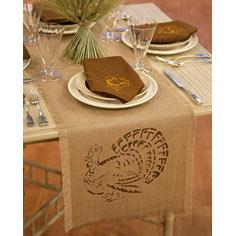 Stenciled Napkins and Table Runner