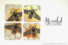 STENCILED BEE COASTERS