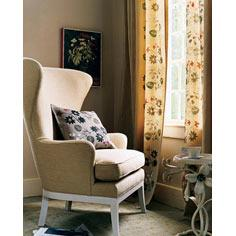Stenciled Floral Curtains and Pillow