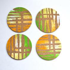 These Colorful Cork Coasters